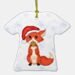 Cute Cookie Fox Wearing A Santa Hat Christmas Tree Ornaments
