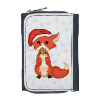 Cute Cookie Fox Wearing A Santa Hat Wallet
