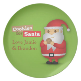 Cute Cookies for Santa Claus on Christmas Eve Dinner Plate
