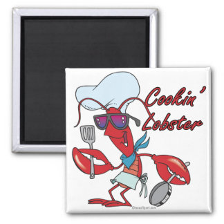 cute cookin cooking lobster cartoon 2 inch square magnet