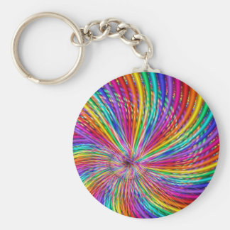 "Cute Cool Abstract Pattern ""Rainbow Swirl"" Keychain"