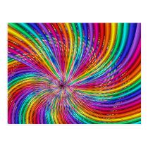 "Cute Cool Abstract Pattern ""Rainbow Swirl"" Postcard"