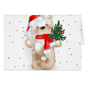 cute cool christmas teddy bear card
