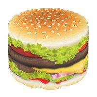 Cute Cool Funny Hamburger Round Pouf Ottoman Seat