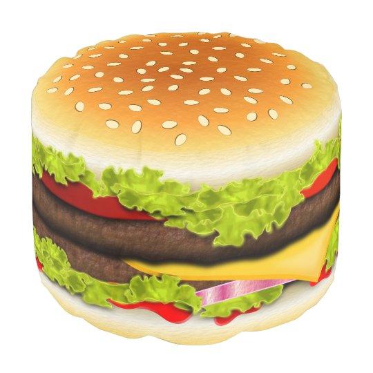 Cute Cool Funny Hamburger Round Pouf Ottoman Seat Zazzle Com
