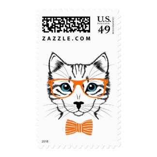 Cute Cool Hipster Cat Stamp