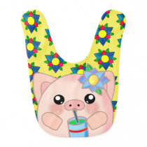Cute Cool Pig Drink Happy Animal Baby Bib
