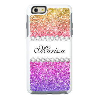 Cute Cool Pink Purple Yellow Gold Glitter Sparkles OtterBox iPhone 6/6s Plus Case