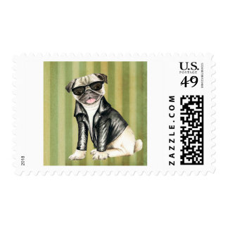 Cute Cool Pug in a leather jacket illustration Postage
