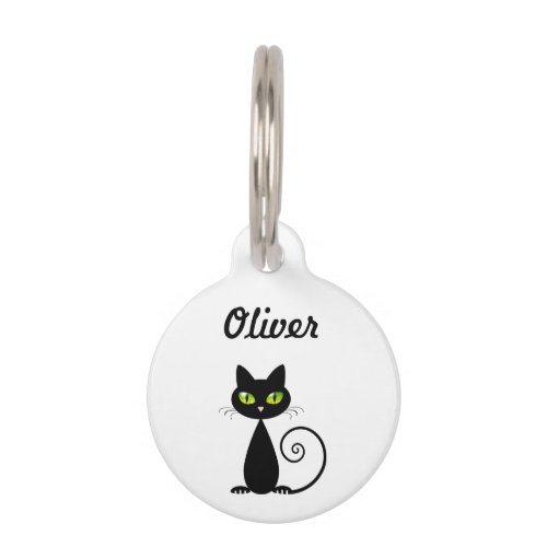 Cute Cool Sitting Black Cat with Green Eyes Pet ID Tag