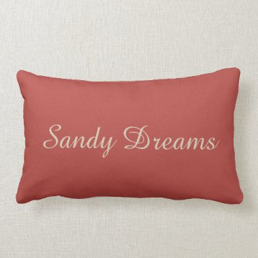 Beach Themed Cute Coral and Cream Retro Beach Cottage Quote Lumbar Pillow