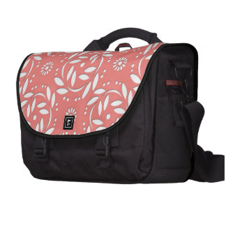 Cute Coral and White Floral Pattern Laptop Bags
