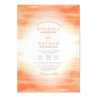 Cute Coral Aquarelle Color Wash Gorgeous Wedding Magnetic Invitation