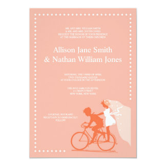 CUTE Coral Bicycle Couple Wedding Invitation