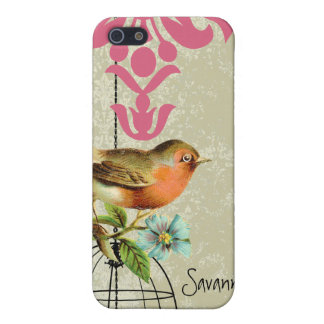 Cute Coral Bird Black Bird Cage Pink Damask iPhone iPhone SE/5/5s Cover