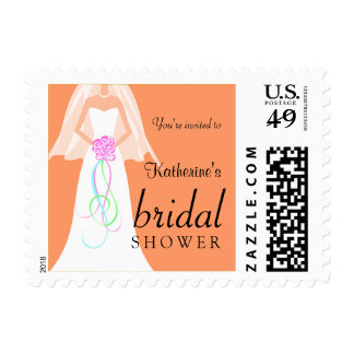 Cute Coral Bridal Shower Postage Stamps