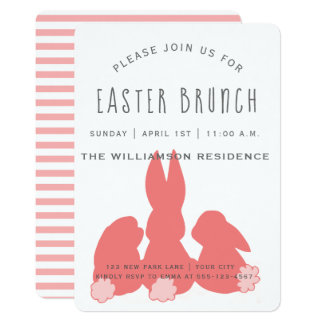 Cute Coral Easter Bunnies |  Brunch Invitation