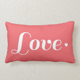 Cute Coral Love Heart Lumbar Pillow