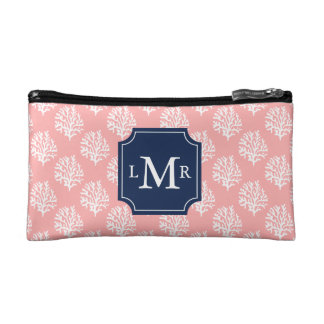 Cute Coral Pattern and Blue Monogram Makeup Bag