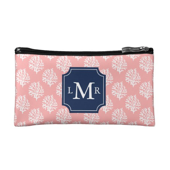 Cute Coral Pattern and Blue Monogram Makeup Bag