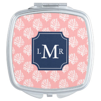 Cute Coral Pattern and Blue Monogram Travel Mirror