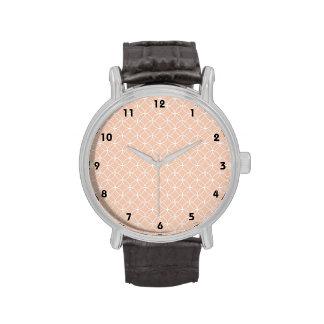 Cute Coral Peach Retro Circles Pattern Wristwatches