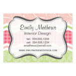 Cute Coral Pink and Light Green Patterns Business Cards