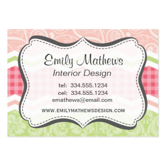 Cute Coral Pink and Light Green Patterns Large Business Cards (Pack Of 100)
