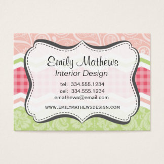Cute Coral Pink and Light Green Patterns Business Card