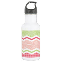 Cute Coral Pink and Light Green Patterns Water Bottle