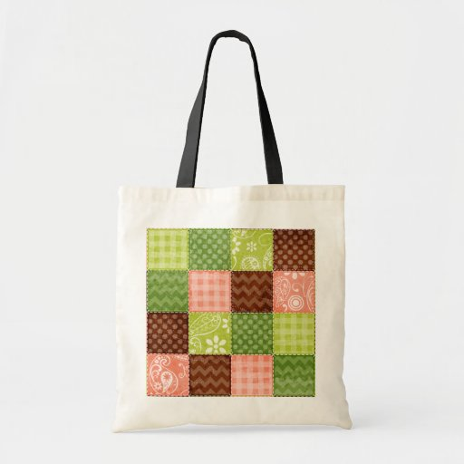 Cute Coral Pink, Green, and Brown Pattern Canvas Bag