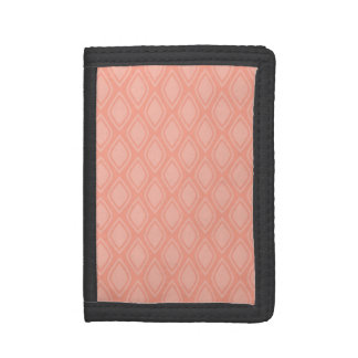 Cute Coral Pink Retro Pattern Trifold Wallets