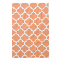 cute coral quatrefoil towels