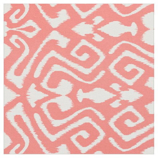 Cute coral red and white ikat tribal patterns fabric | Zazzle