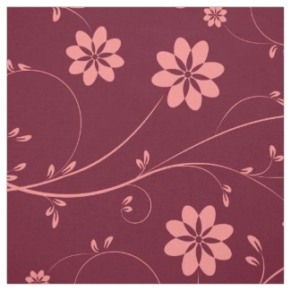 Cute Coral Red & Burgundy Delicate Floral Pattern
