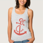 Cute Coral Red Nautical Boat Anchor Illustration Jersey Racerback Tank Top