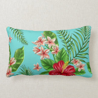 Cute Coral Tropical Hibiscus Flower On Turquoise Lumbar Pillow
