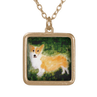 Cute Corgi Dog Art Gold Plated Necklace