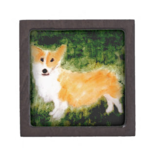 Cute Corgi Dog Art Keepsake Box