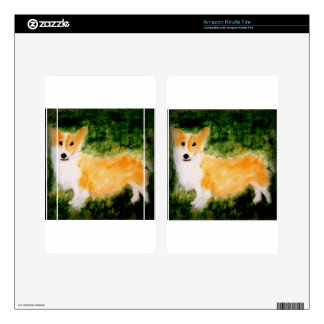 Cute Corgi Dog Art Kindle Fire Decals