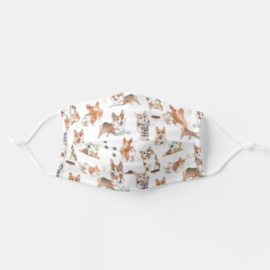 Cute Corgi Dog Pattern Personalized Adult Cloth Face Mask