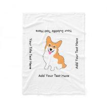 Cute Corgi Drawing - Add Your Own Text Fleece Blanket