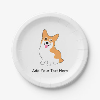 Cute Corgi Drawing - Add Your Own Text Paper Plate