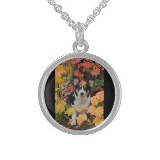 Cute Corgi in Fall Colors Sterling Silver Necklace