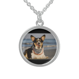 Cute Corgi Licking his Chops Sterling Silver Necklace