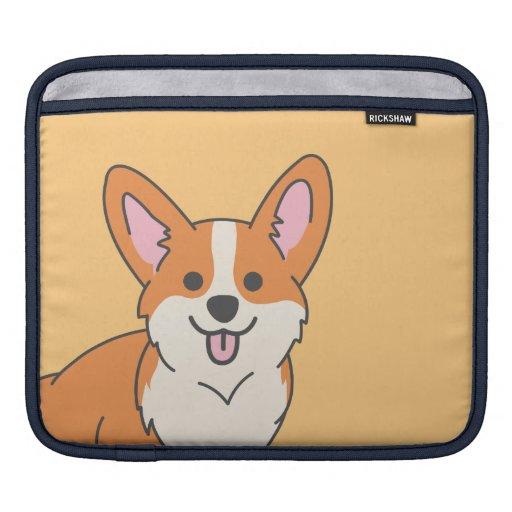 Cute Corgi Puppy Vector Drawing on Orange Tablet iPad Sleeve