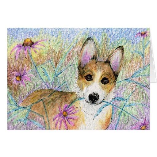 Cute Corgi with Pink Flower CARD