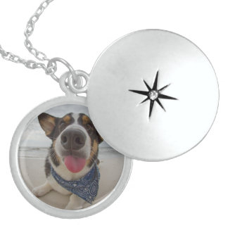 Cute Corgi with Tongue Out Round Locket Necklace