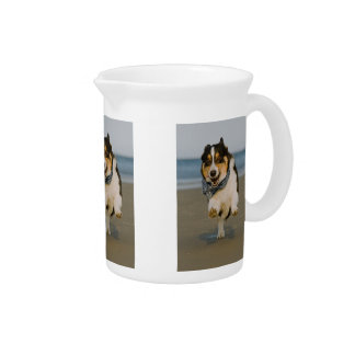 Cute Cori Running & Jumping on Beach Drink Pitcher