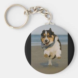 Cute Cori Running & Jumping on Beach Key Chain